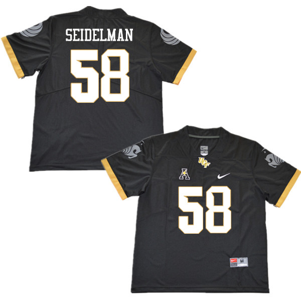 Men #58 Eric Seidelman UCF Knights College Football Jerseys Sale-Black