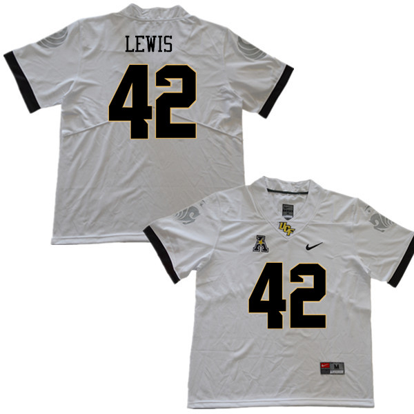 Men #42 Rahsaan Lewis UCF Knights College Football Jerseys Sale-White