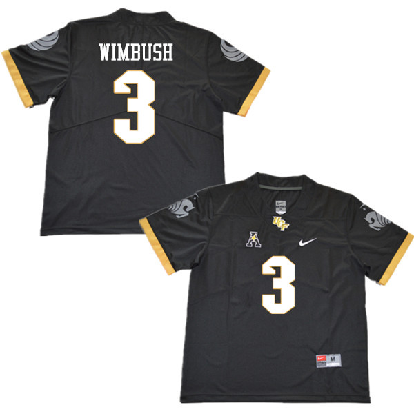 Men #3 Brandon Wimbush UCF Knights College Football Jerseys Sale-Black