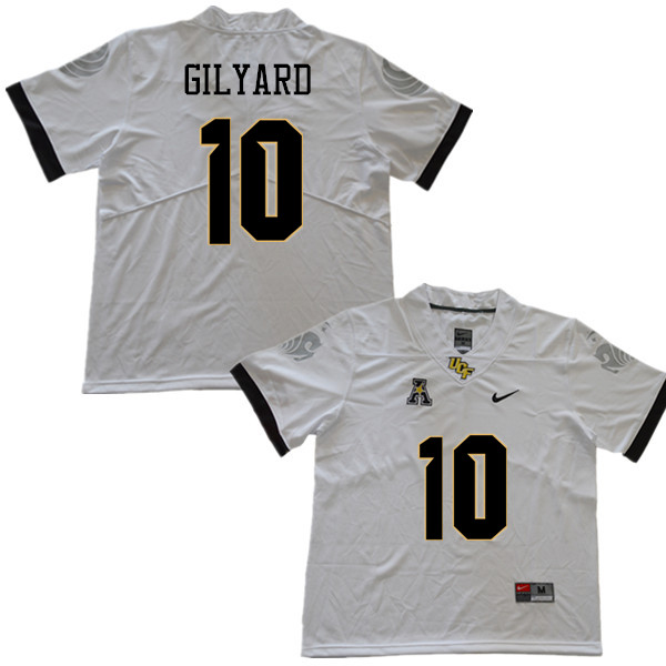 Men #10 Eriq Gilyard UCF Knights College Football Jerseys Sale-White