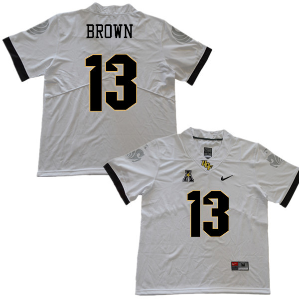 Men #13 Bryon Brown UCF Knights College Football Jerseys Sale-White
