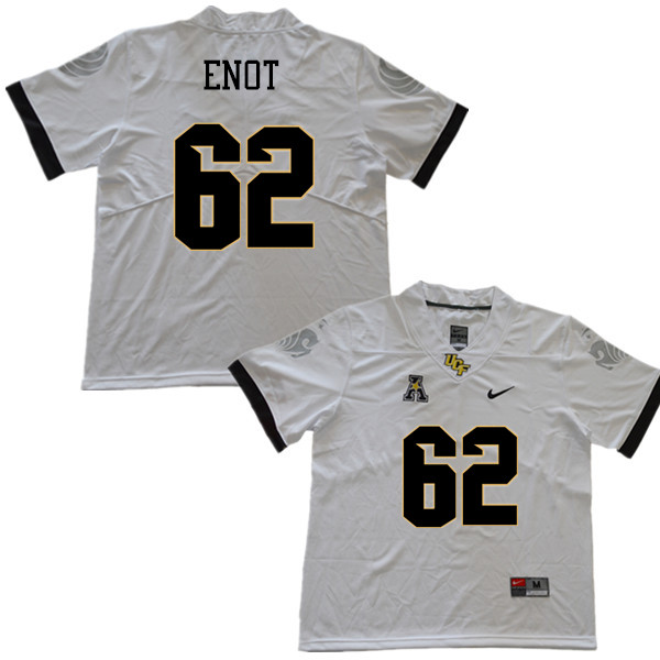 Men #62 Caleb Enot UCF Knights College Football Jerseys Sale-White