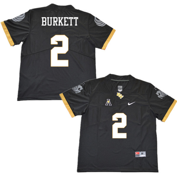 Men #2 Chequan Burkett UCF Knights College Football Jerseys Sale-Black