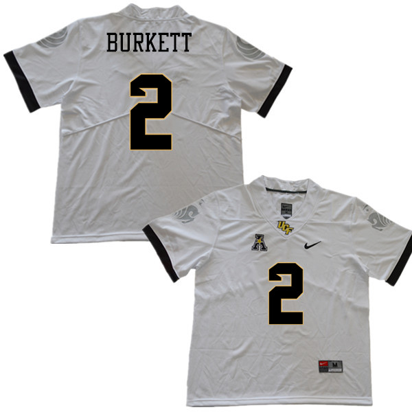 Men #2 Chequan Burkett UCF Knights College Football Jerseys Sale-White