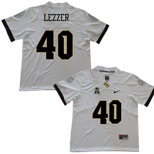 Men #40 Christian Lezzer UCF Knights College Football Jerseys Sale-White