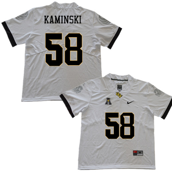 Men #58 Connor Kaminski UCF Knights College Football Jerseys Sale-White