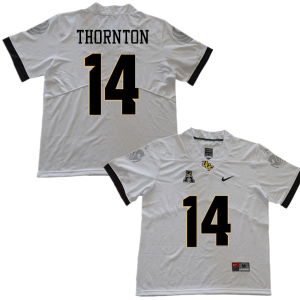 Men #14 Corey Thornton UCF Knights College Football Jerseys Sale-White