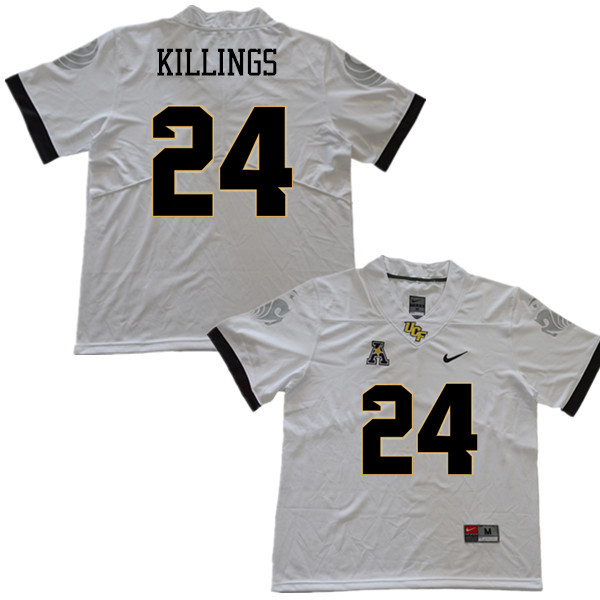 Men #24 D.J. Killings UCF Knights College Football Jerseys Sale-White