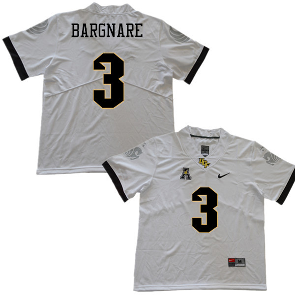 Men #3 Jaquarius Bargnare UCF Knights College Football Jerseys Sale-White