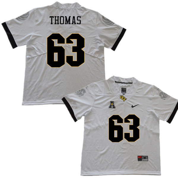 Men #63 Jared Thomas UCF Knights College Football Jerseys Sale-White