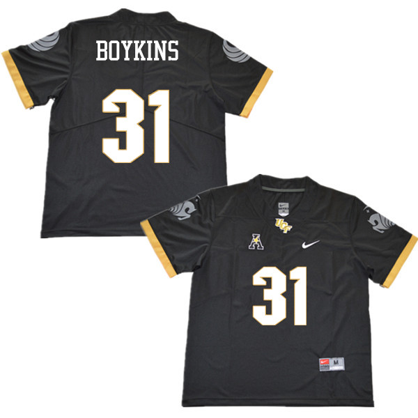 Men #31 Jeremy Boykins UCF Knights College Football Jerseys Sale-Black