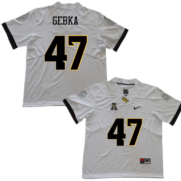 Men #47 Jonathan Gebka UCF Knights College Football Jerseys Sale-White