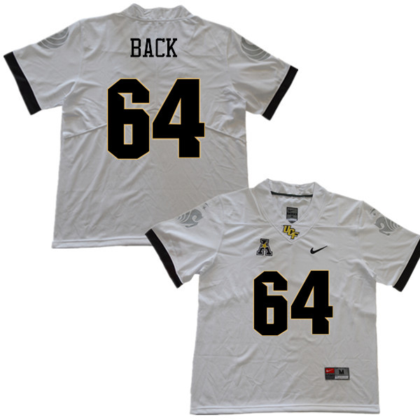 Men #64 Kyle Back UCF Knights College Football Jerseys Sale-White