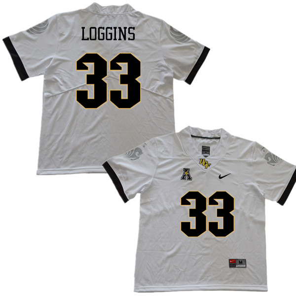 Men #33 Monterious Loggins UCF Knights College Football Jerseys Sale-White