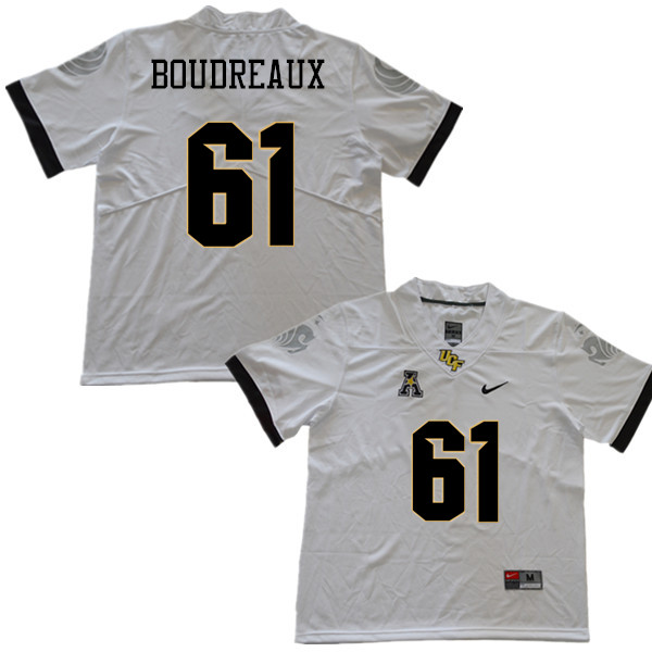 Men #61 Parker Boudreaux UCF Knights College Football Jerseys Sale-White