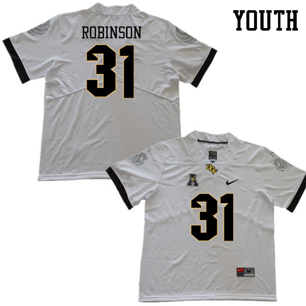 Youth #31 Aaron Robinson UCF Knights College Football Jerseys Sale-White