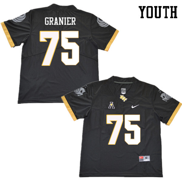 Youth #75 Bailey Granier UCF Knights College Football Jerseys Sale-Black