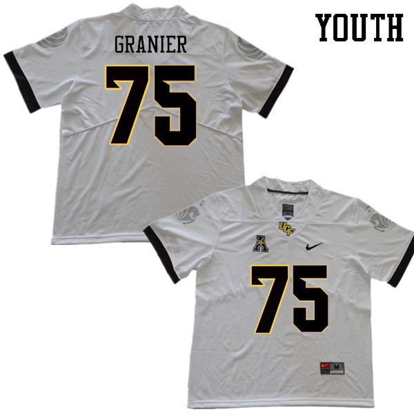 Youth #75 Bailey Granier UCF Knights College Football Jerseys Sale-White