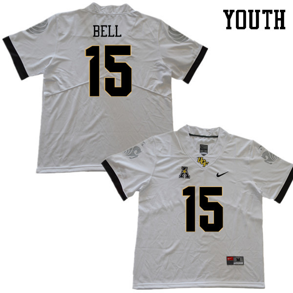 Youth #15 Brett Bell UCF Knights College Football Jerseys Sale-White