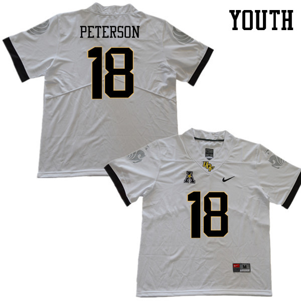 Youth #18 Charlie Peterson UCF Knights College Football Jerseys Sale-White