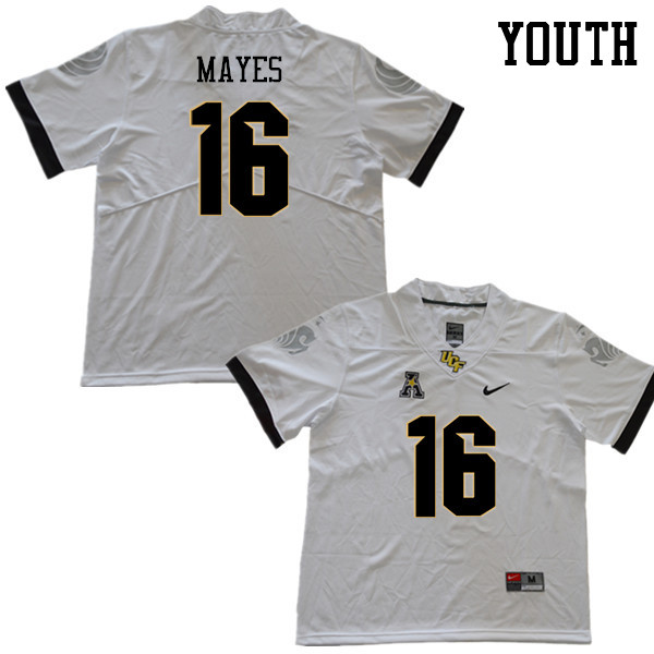 Youth #16 Demetreius Mayes UCF Knights College Football Jerseys Sale-White