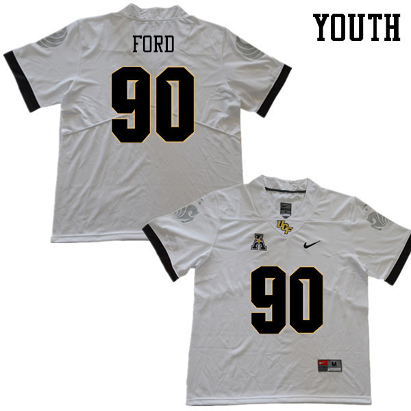 Youth #90 Durand Ford UCF Knights College Football Jerseys Sale-White