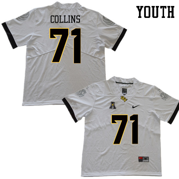 Youth #71 James Collins UCF Knights College Football Jerseys Sale-White