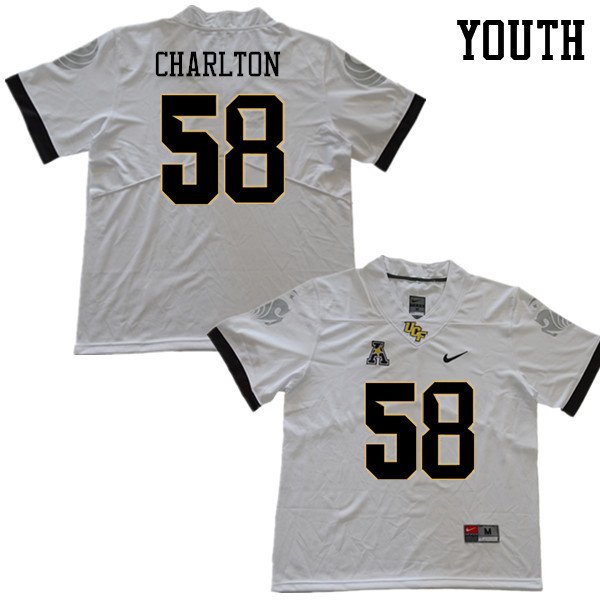 Youth #58 Randy Charlton UCF Knights College Football Jerseys Sale-White