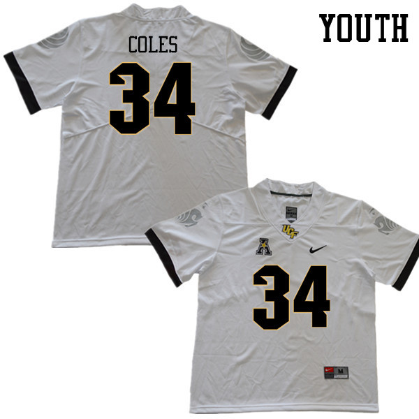 Youth #34 Trillion Coles UCF Knights College Football Jerseys Sale-White