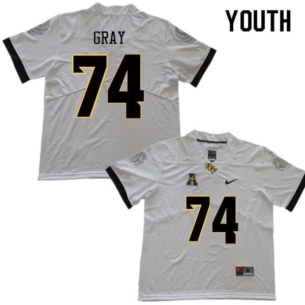 Youth #74 Tony Gray UCF Knights College Football Jerseys Sale-White