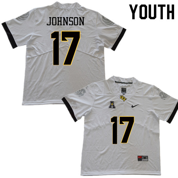 Youth #17 Amari Johnson UCF Knights College Football Jerseys Sale-White