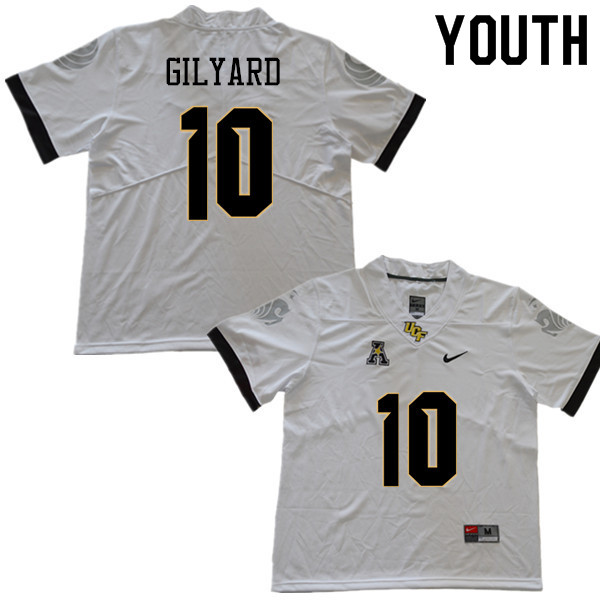 Youth #10 Eriq Gilyard UCF Knights College Football Jerseys Sale-White