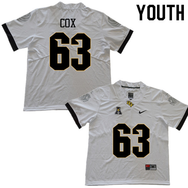Youth #63 Josh Cox UCF Knights College Football Jerseys Sale-White