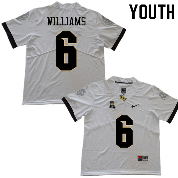 Youth #6 Marlon Williams UCF Knights College Football Jerseys Sale-White