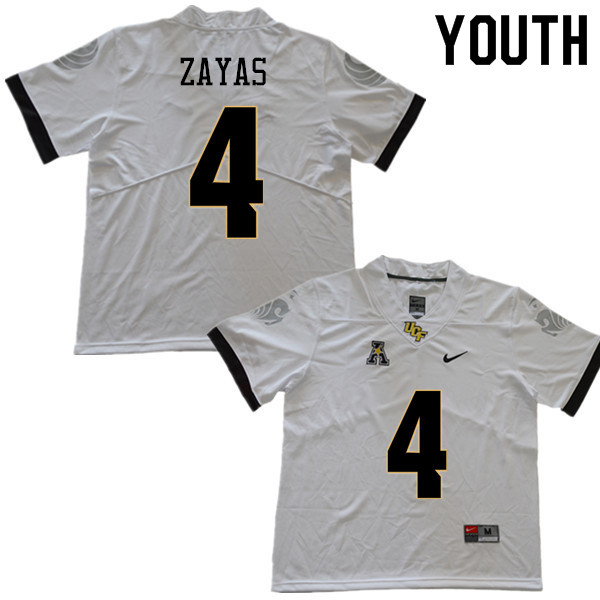 Youth #4 Stephon Zayas UCF Knights College Football Jerseys Sale-White