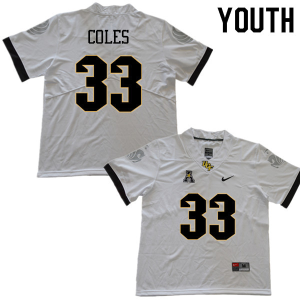 Youth #33 Trillion Coles UCF Knights College Football Jerseys Sale-White