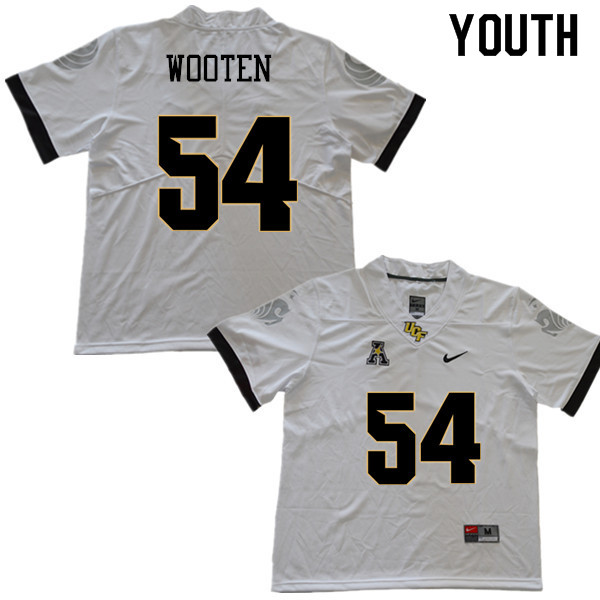 Youth #54 A.J. Wooten UCF Knights College Football Jerseys Sale-White