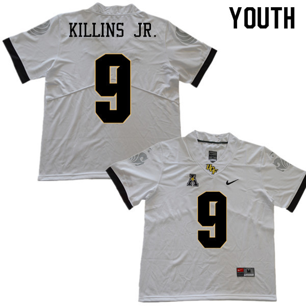 Youth #9 Adrian Killins Jr. UCF Knights College Football Jerseys Sale-White