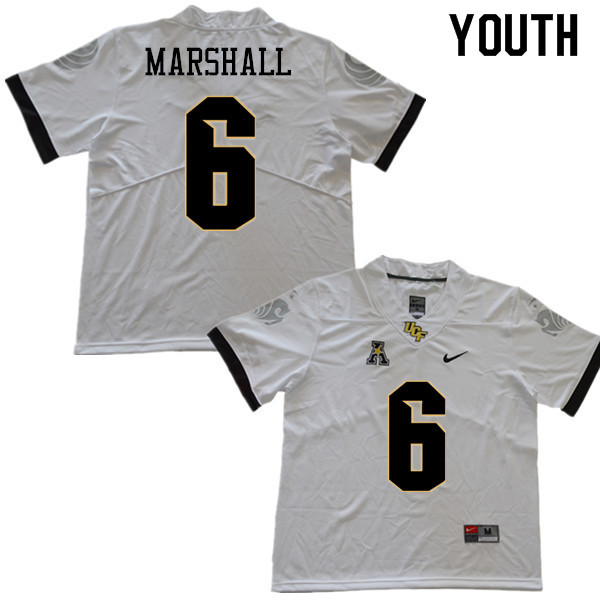 Youth #6 Brandon Marshall UCF Knights College Football Jerseys Sale-White