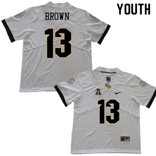 Youth #13 Bryon Brown UCF Knights College Football Jerseys Sale-White