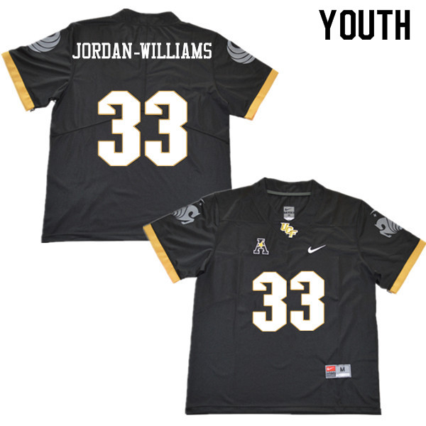 Youth #33 Cedric Jordan-Williams UCF Knights College Football Jerseys Sale-Black