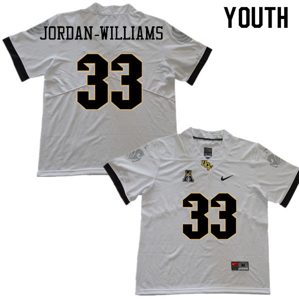 Youth #33 Cedric Jordan-Williams UCF Knights College Football Jerseys Sale-White