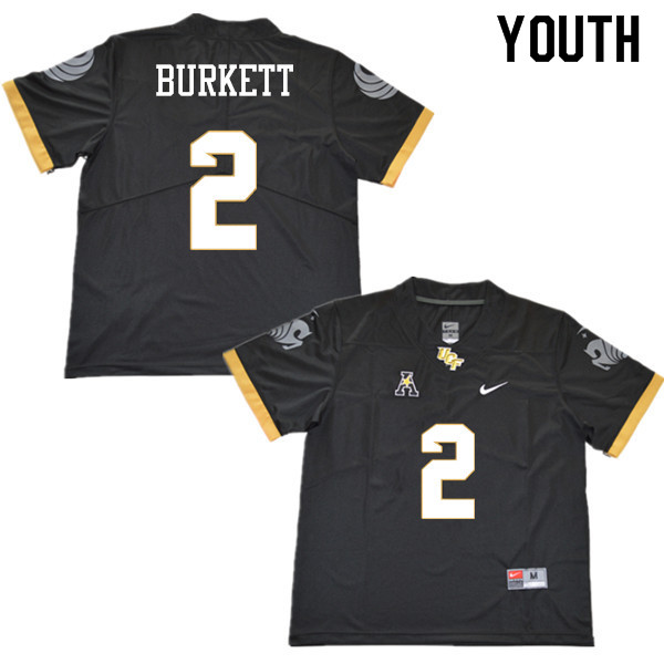 Youth #2 Chequan Burkett UCF Knights College Football Jerseys Sale-Black