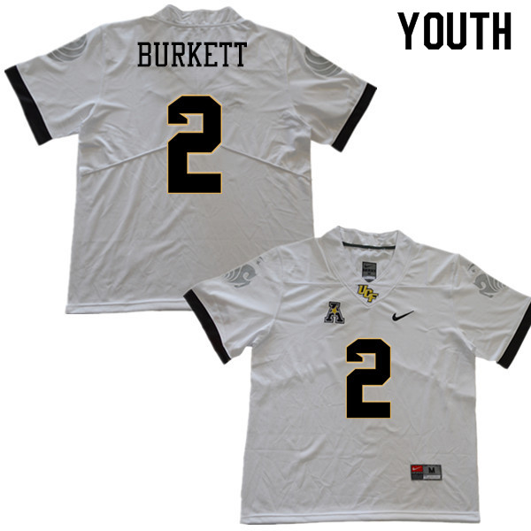 Youth #2 Chequan Burkett UCF Knights College Football Jerseys Sale-White