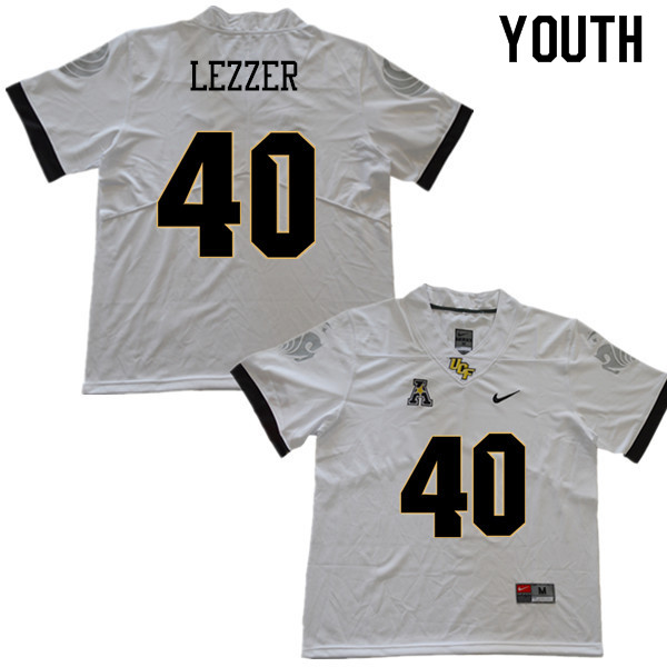 Youth #40 Christian Lezzer UCF Knights College Football Jerseys Sale-White