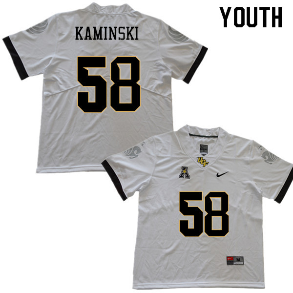 Youth #58 Connor Kaminski UCF Knights College Football Jerseys Sale-White