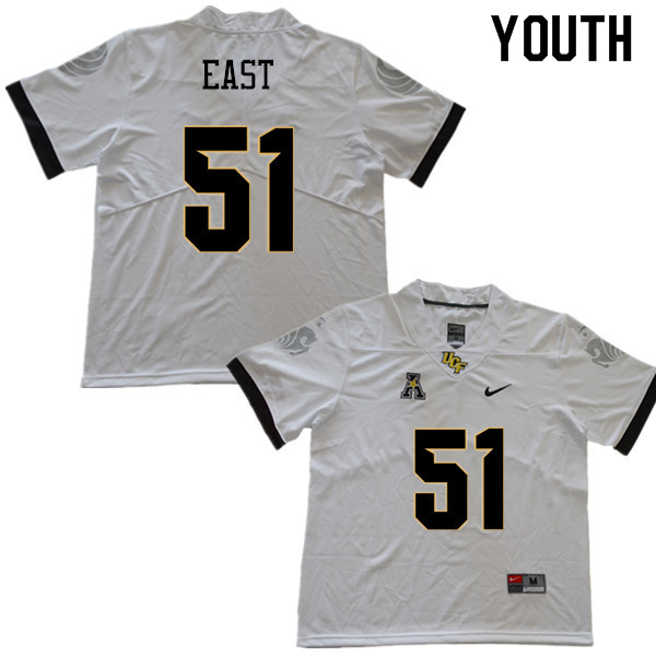 Youth #51 Darious East UCF Knights College Football Jerseys Sale-White