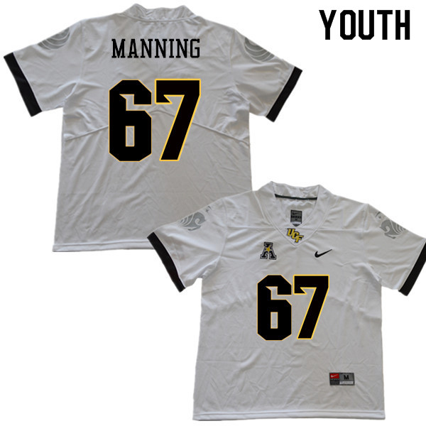 Youth #67 Dillon Manning UCF Knights College Football Jerseys Sale-White