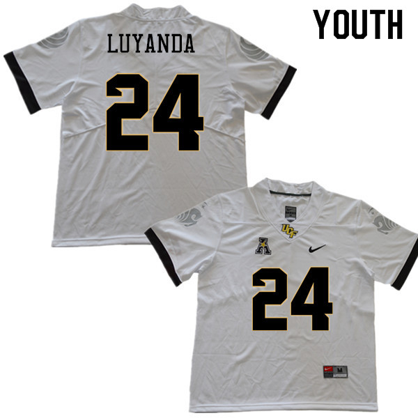Youth #24 Gabriel Luyanda UCF Knights College Football Jerseys Sale-White