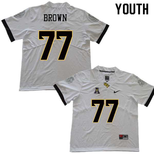 Youth #77 Jake Brown UCF Knights College Football Jerseys Sale-White